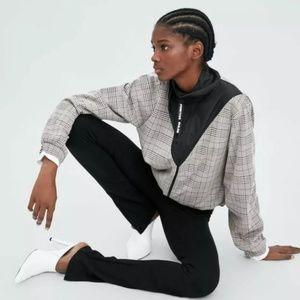 Zara Gray Plaid Windbreaker Light Zip Jacket L